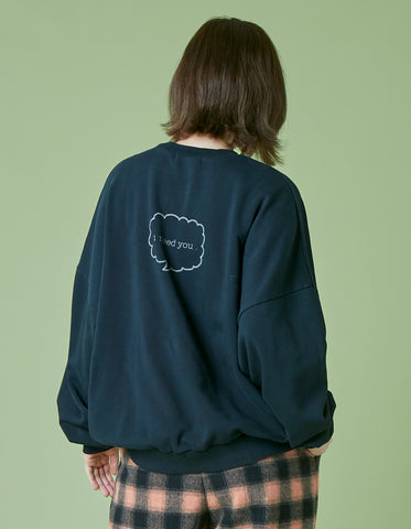 Bear washed sweat top / BLACK
