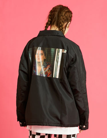 Romeo and juliet X LITTLE SUNNY BITE : Photo nylon jacket / BLACK