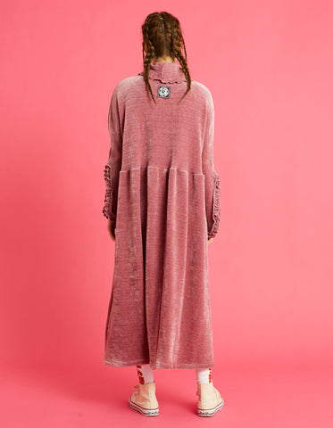 Velor high neck long dress / PINK