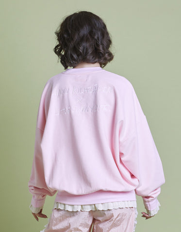 annukilpelainen x little sunny bite Logo stitched sweat top / PINK