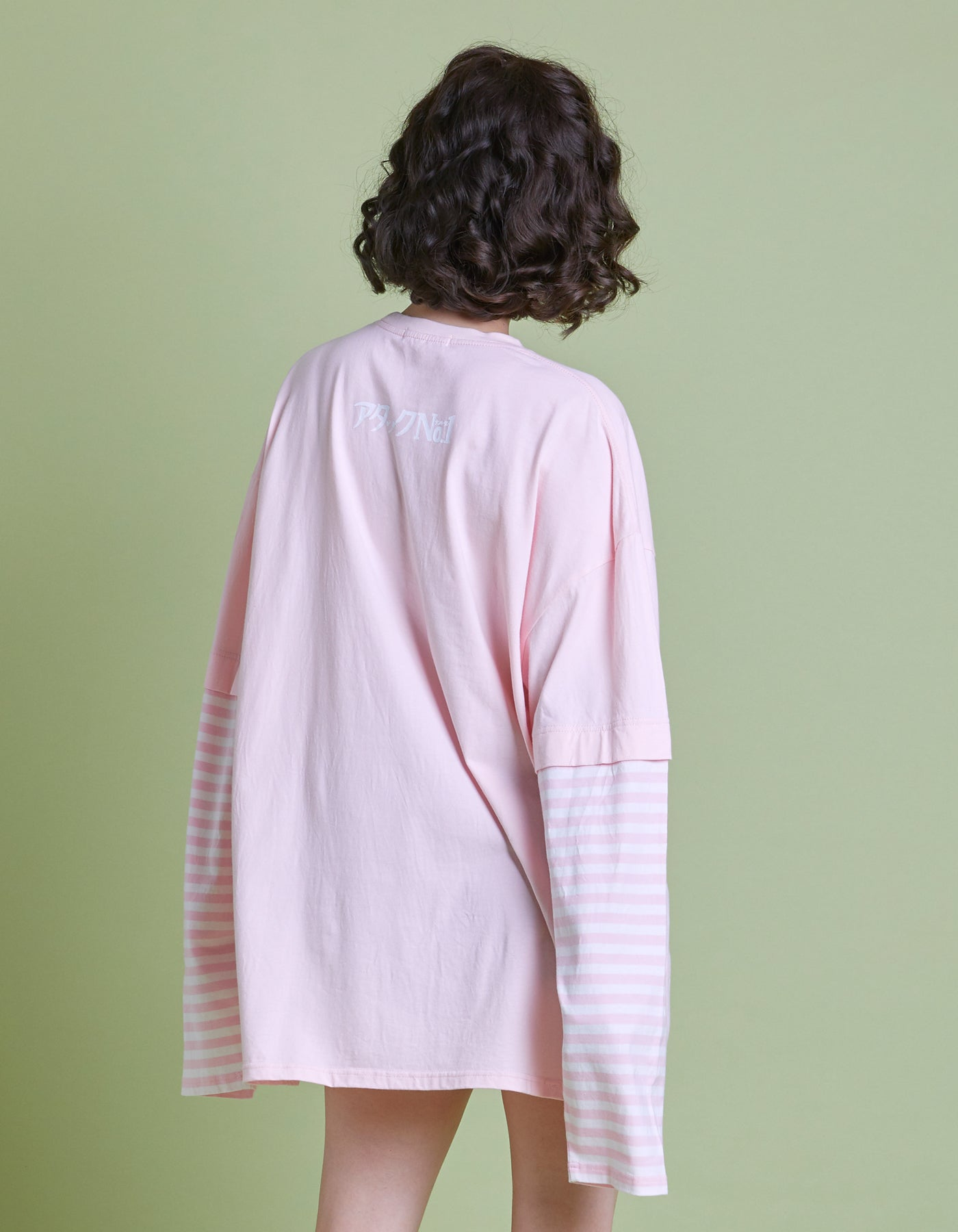 アタックNO1 x little sunny bite Fake layered long tee / PINK