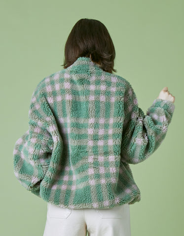 Original checked boa jacket / GREEN