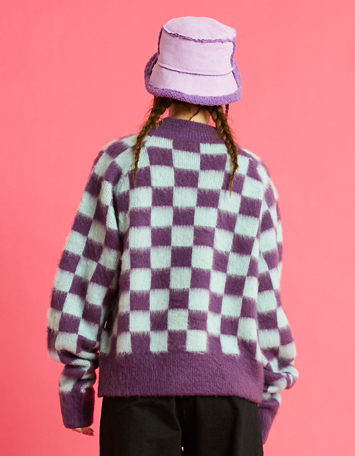 Checker knit top / PURPLE