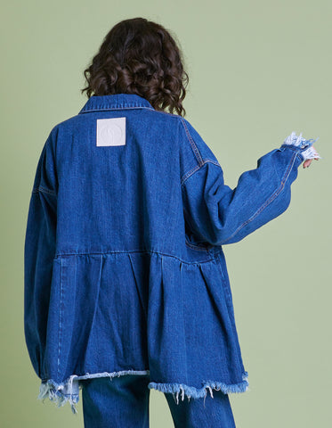 Original colored denim washed jacket / INDIGO