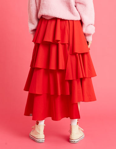 Tiered skirt / RED