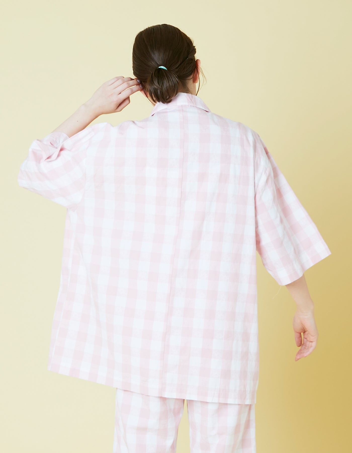 Original floral block check shirts / PINK