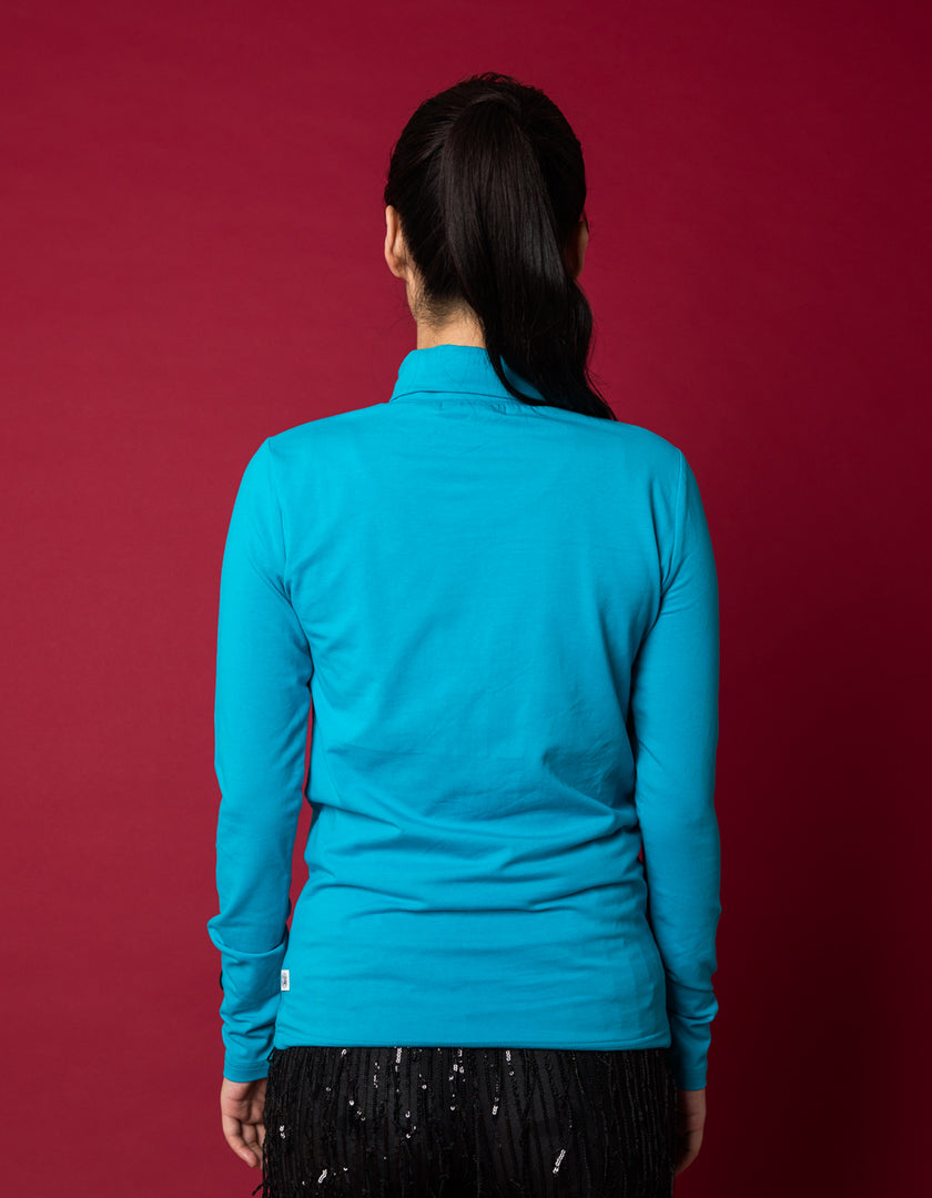 Colorful figh neck top - high neck top / BLUE