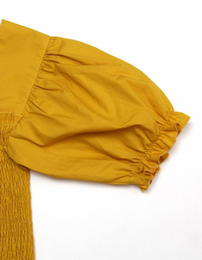 SHORT PUFF SLEEVE BLOUSE / YELLOW
