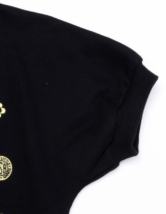 STITCH PUFF SLEEVE SWEAT TOP / BLACK