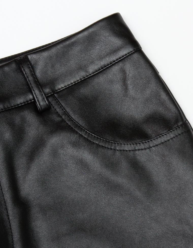 FAKE LEATHER PANTS / BLACK