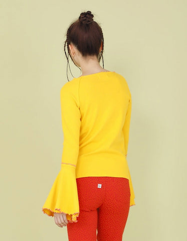 RIB BELL SLEEVE LONG TOP / YELLOW