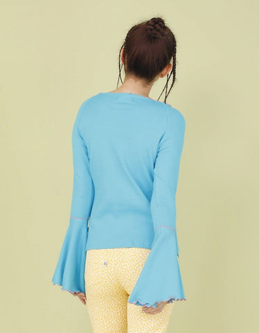 RIB BELL SLEEVE LONG TOP / BLUE