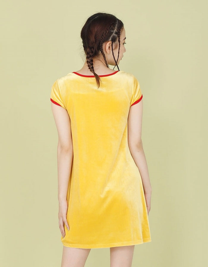VELOUR TEE DRESS / YELLOW
