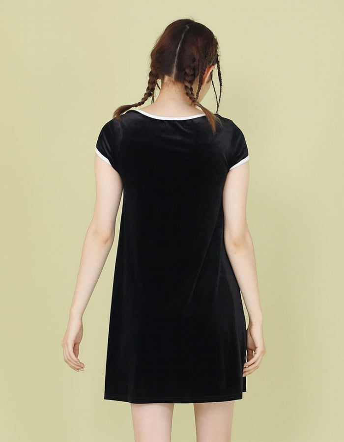 VELOUR TEE DRESS / BLACK