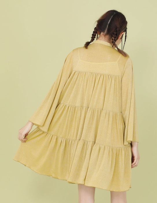 NO COLLAR GLITTER DRESS / YELLOW