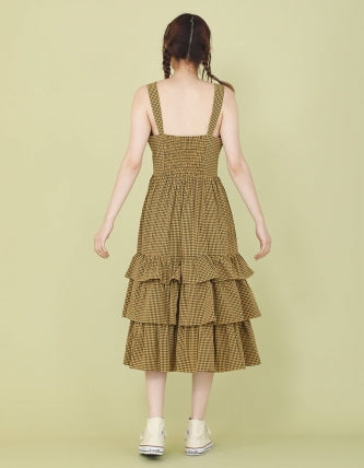 CHECKER LONG DRESS / YELLOW
