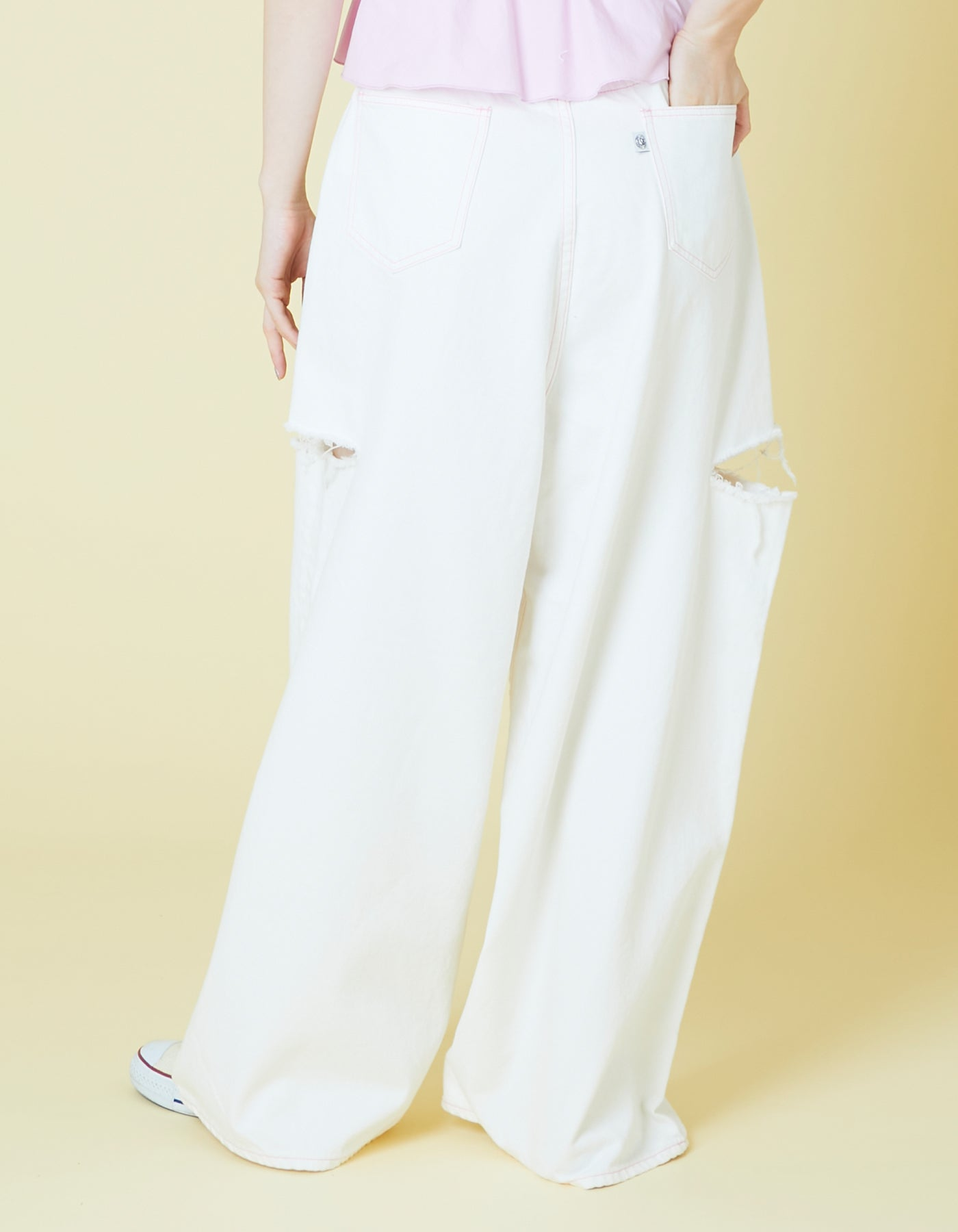 Bomber damege pants / WHITE