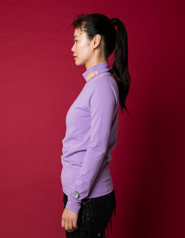 Colorful figh neck top - high neck top / PURPLE