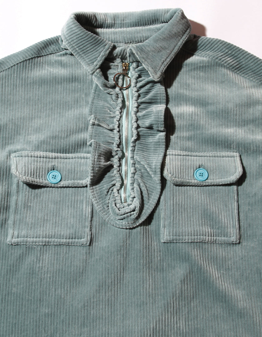Corduroy big shirts / BLUE