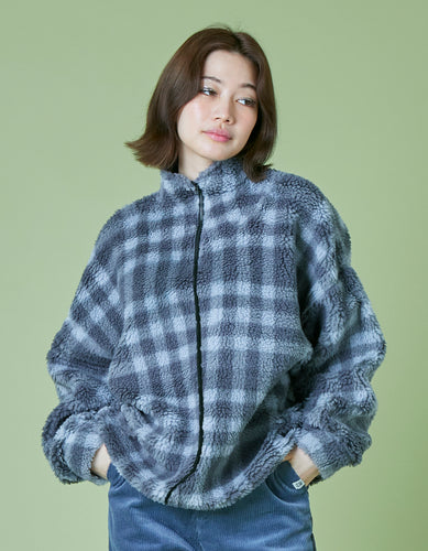 Original checked boa jacket / BLACK