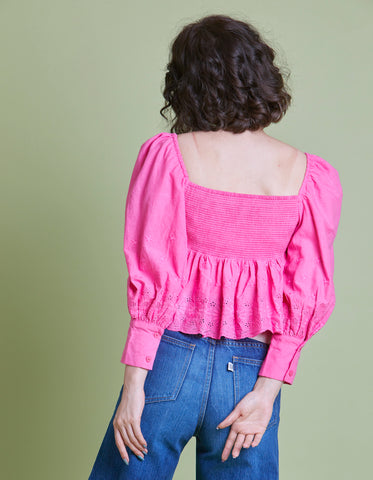 Frill short blouse / PINK
