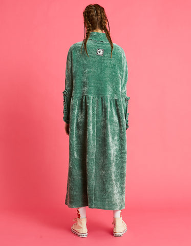 Velor high neck long dress / GREEN