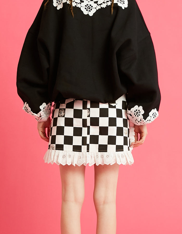Checker lacy skirt / BLACK