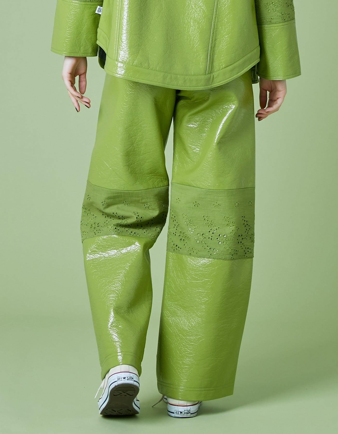 Synthetic leather pants / GREEN