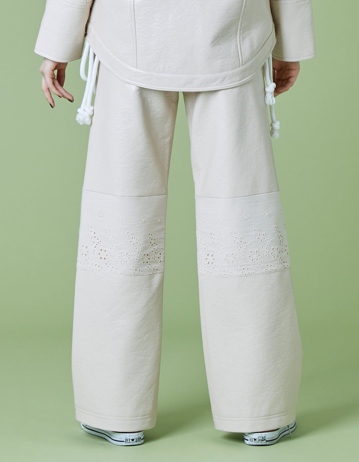 Synthetic leather pants / WHITE