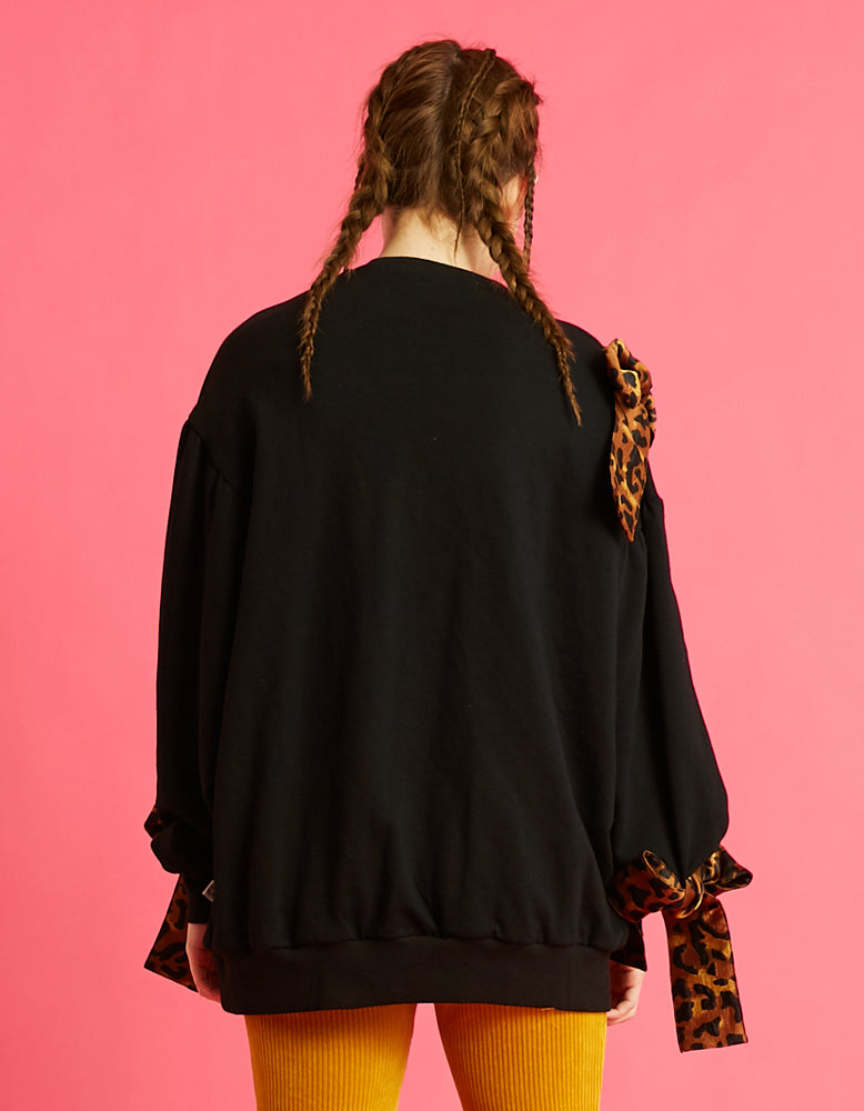 Ribbon everywhere sweat top / BLACK