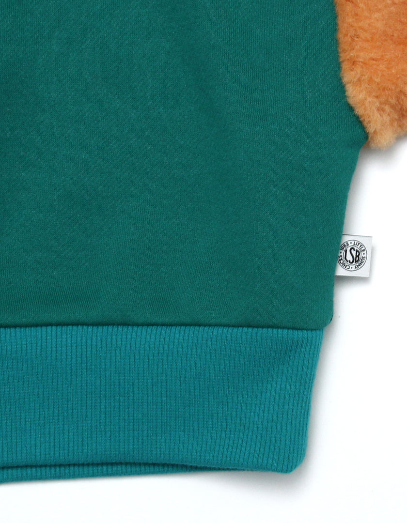 Fur sleeve sweater / GREEN