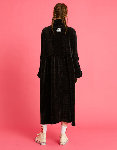 Velor high neck long dress / BLACK