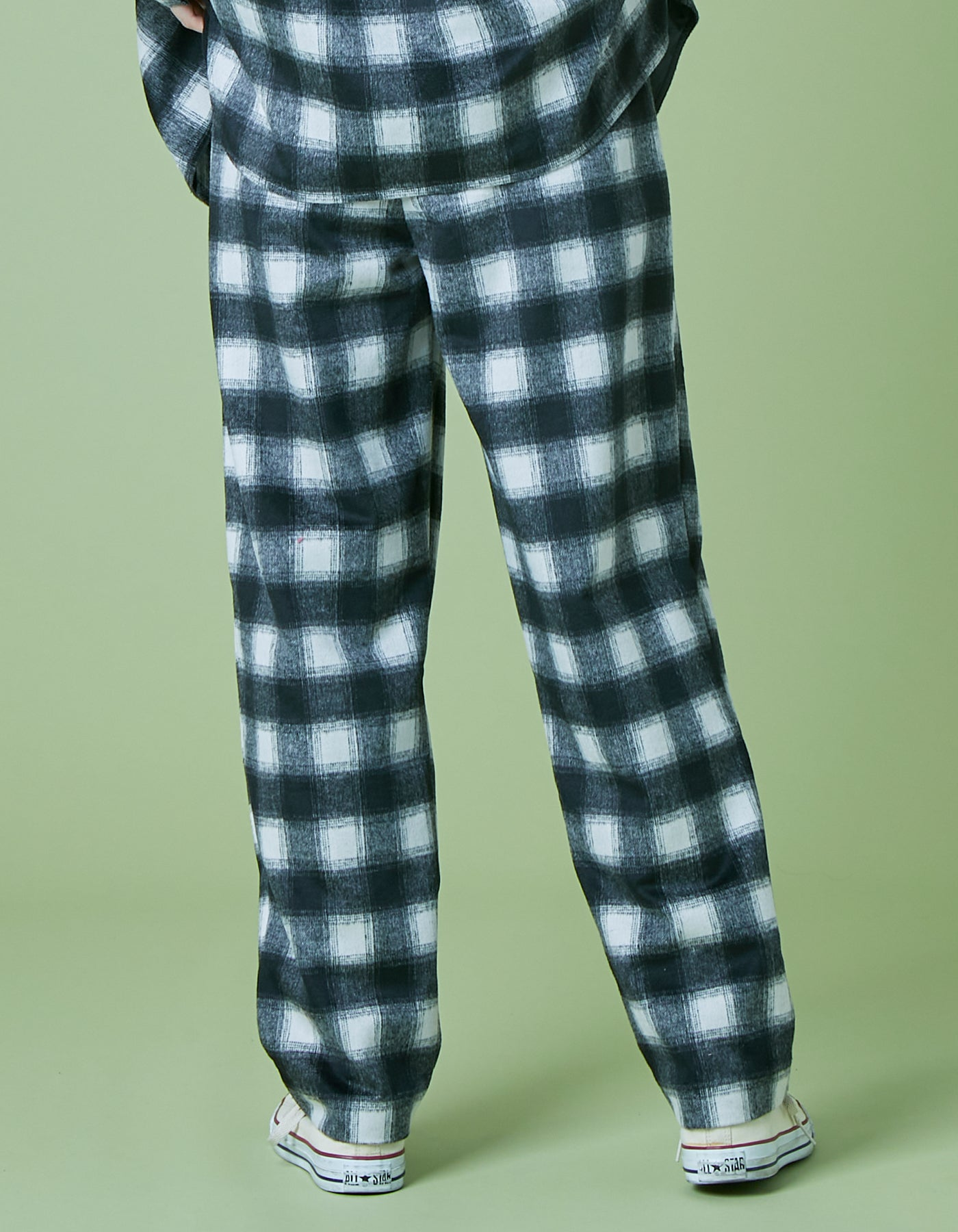 Melton checked pants / BLACK