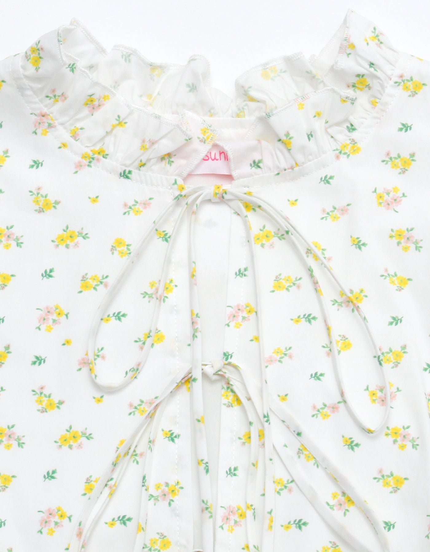 Floral girly puff mini dress / WHITE