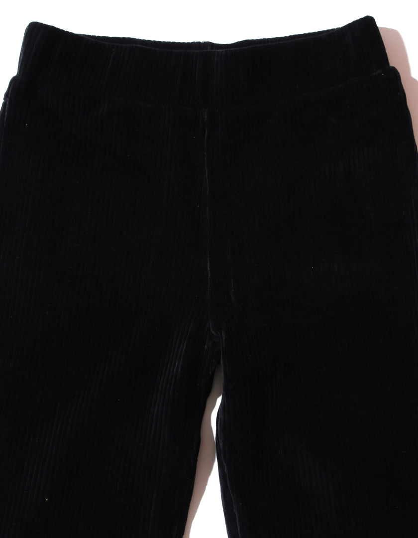 Corduroy frill pants / BLACK