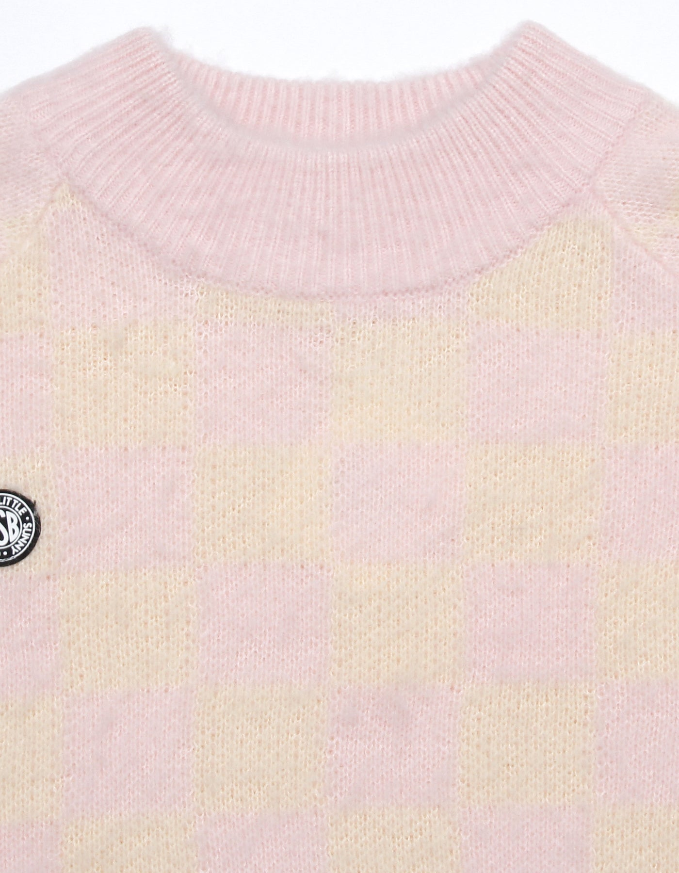 Checker knit top / PINK