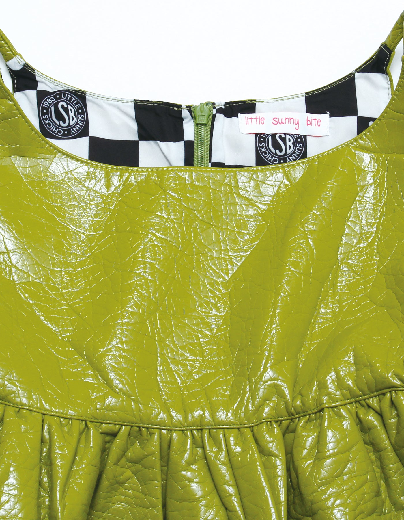 Synthetic leather short dress / GREEN