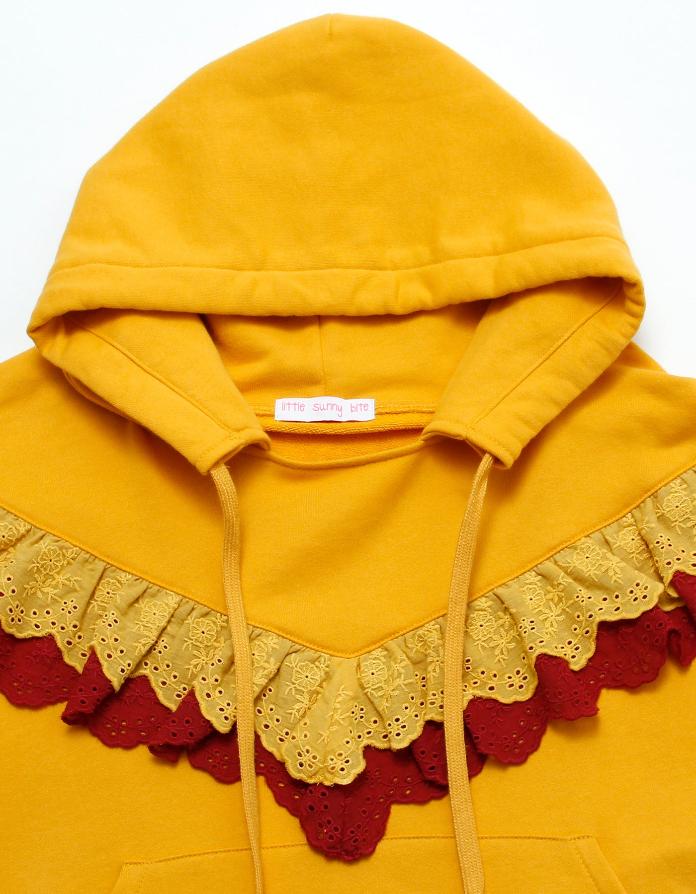 Frilled sweat hoodie / YELLOW