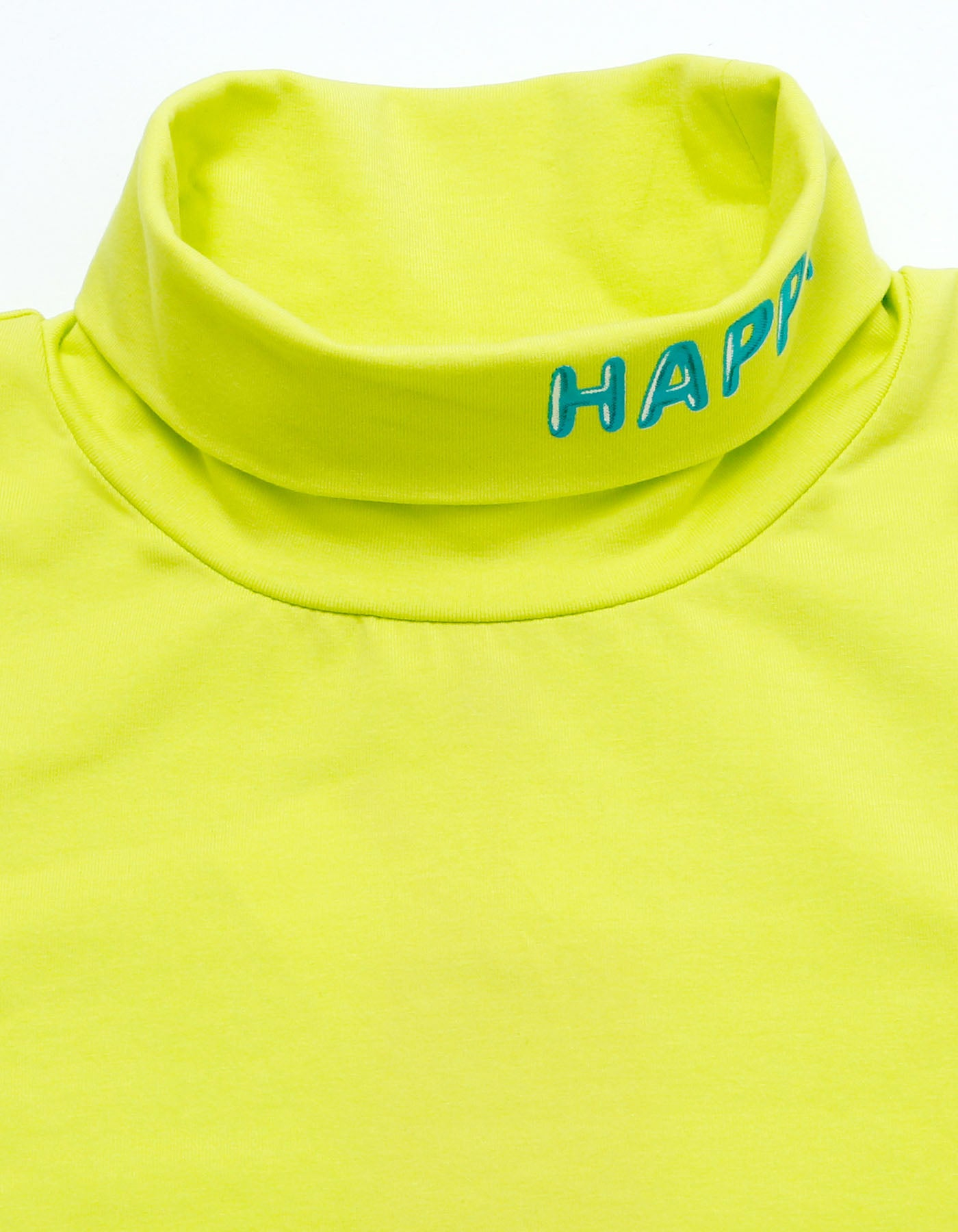 Colorful figh neck top - high neck top / NEONGREEN