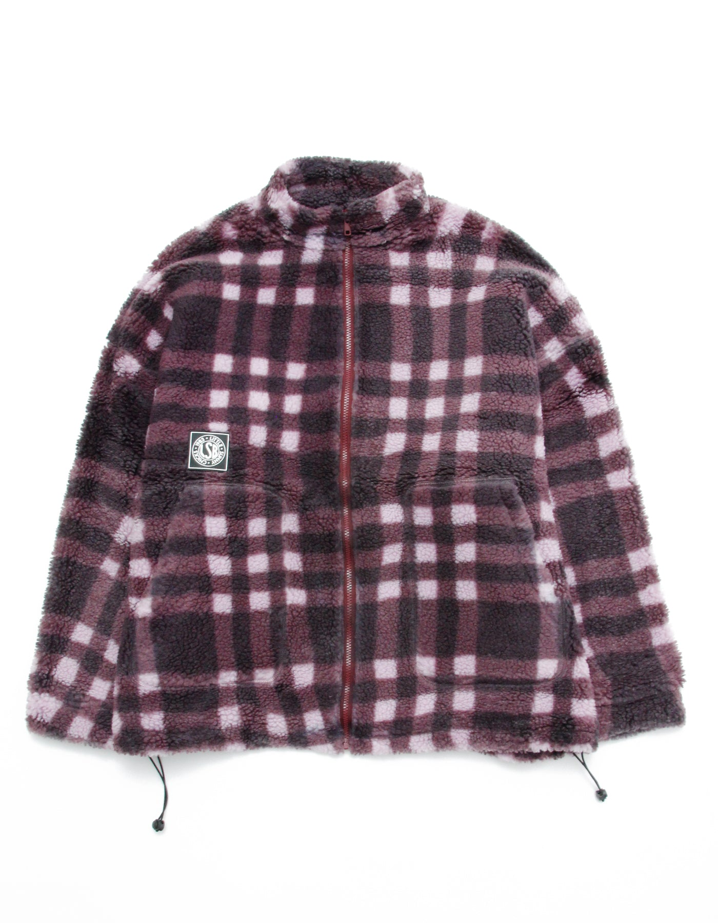 Original checked boa jacket / PURPLE