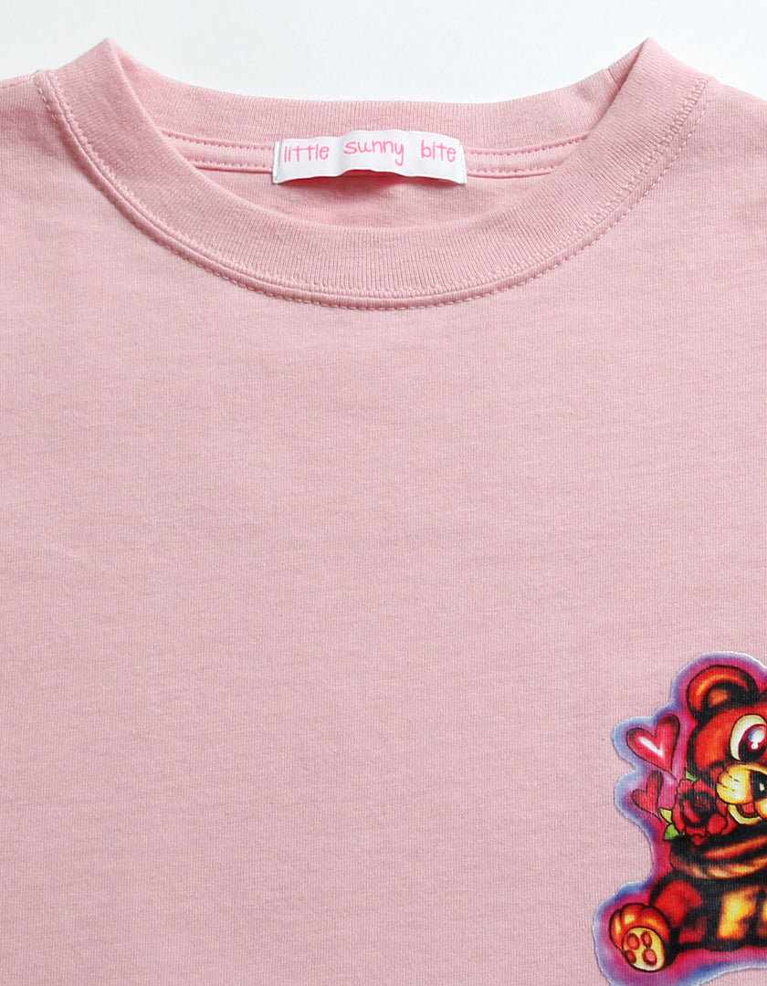 Left Hand X LITTLE SUNNY BITE : graffiti long tee / PINK