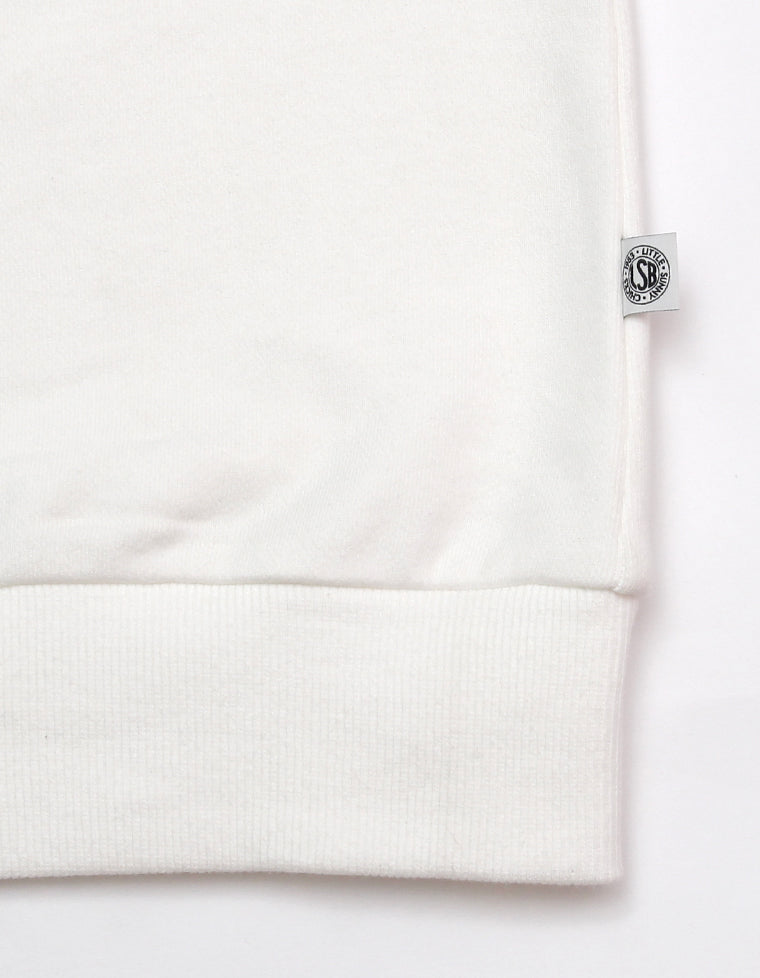 STITCH PUFF SLEEVE SWEAT TOP / WHITE