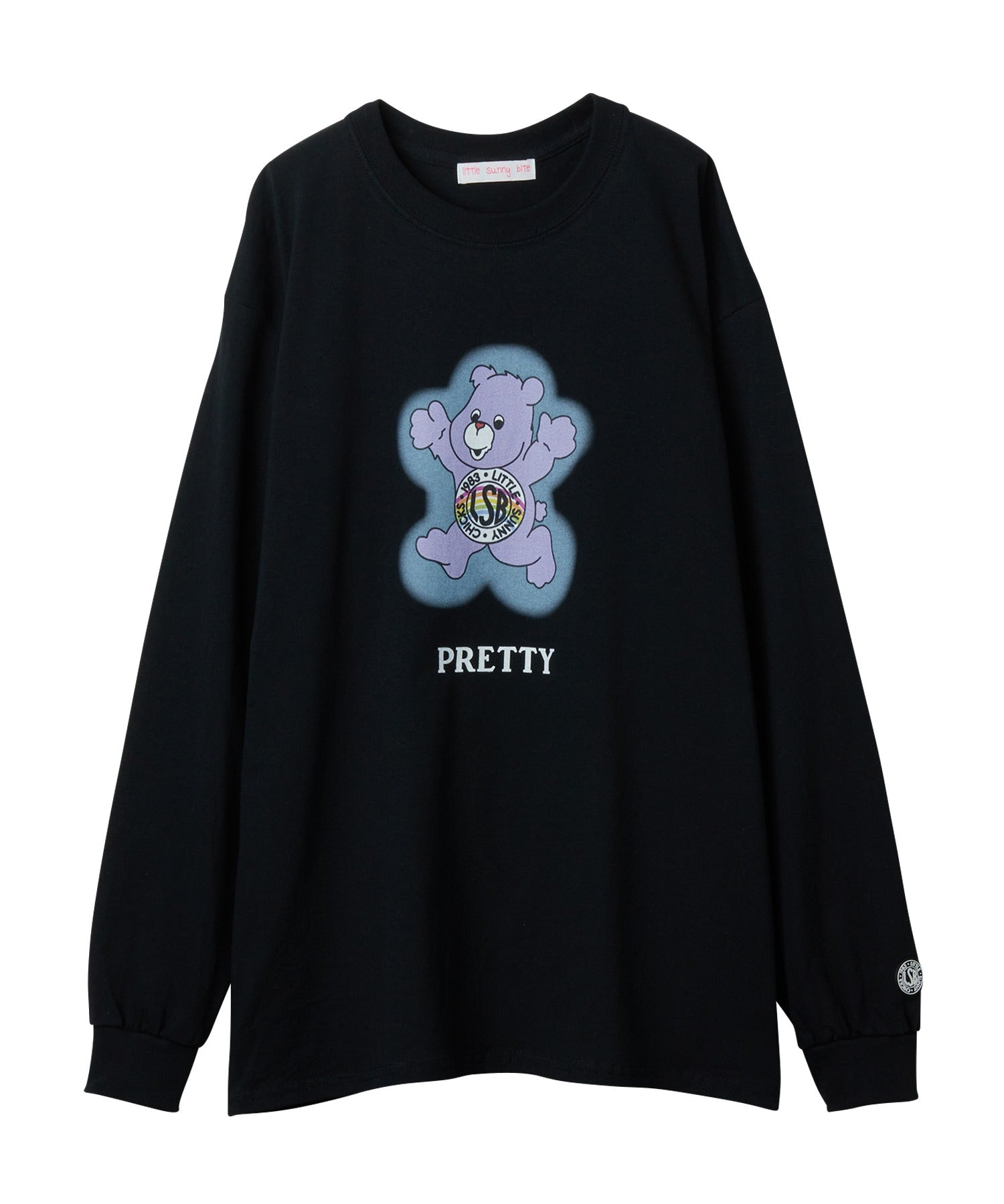 Cute bear long tee / BLACK