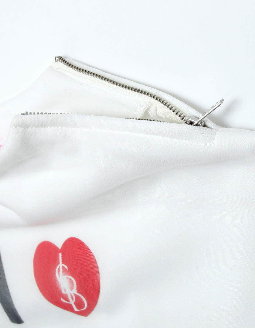 Message girly sweat top / WHITE