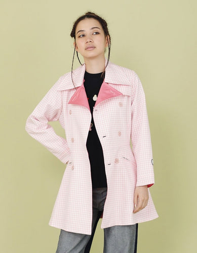 NYLON WAIST SHAPED REVERSIBLE JACKET / PINK