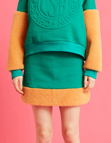 Fur sweat skirt / GREEN