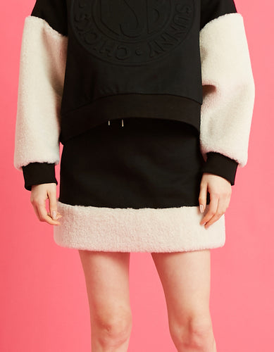 Fur sweat skirt / BLACK