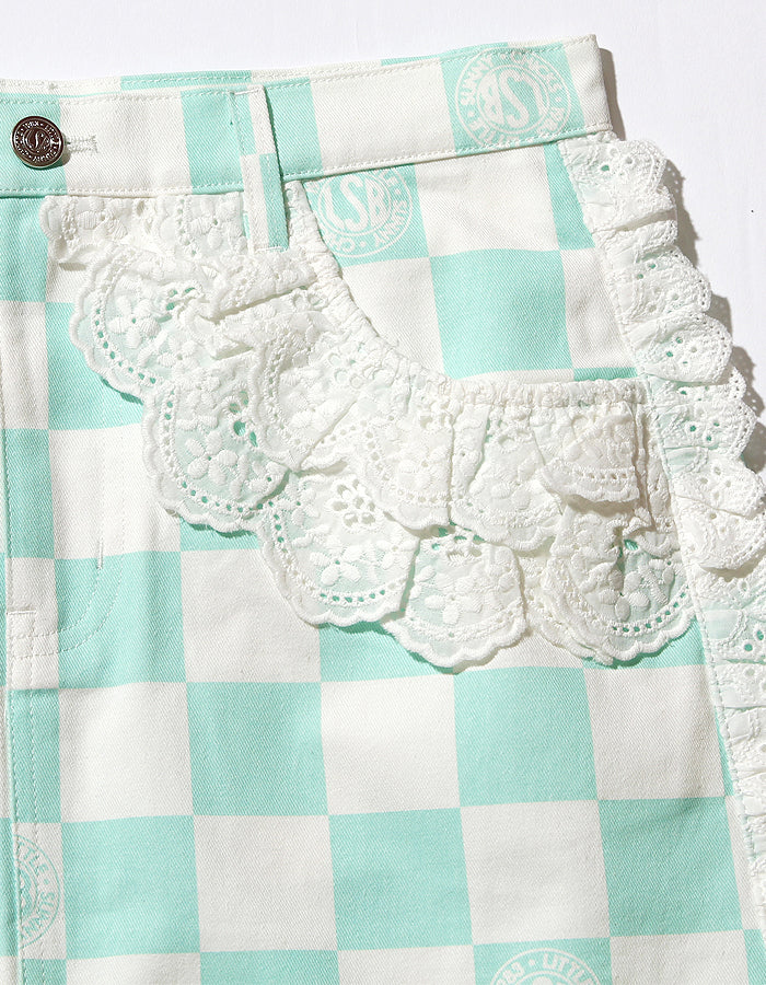 Checker lacy skirt / GREEN