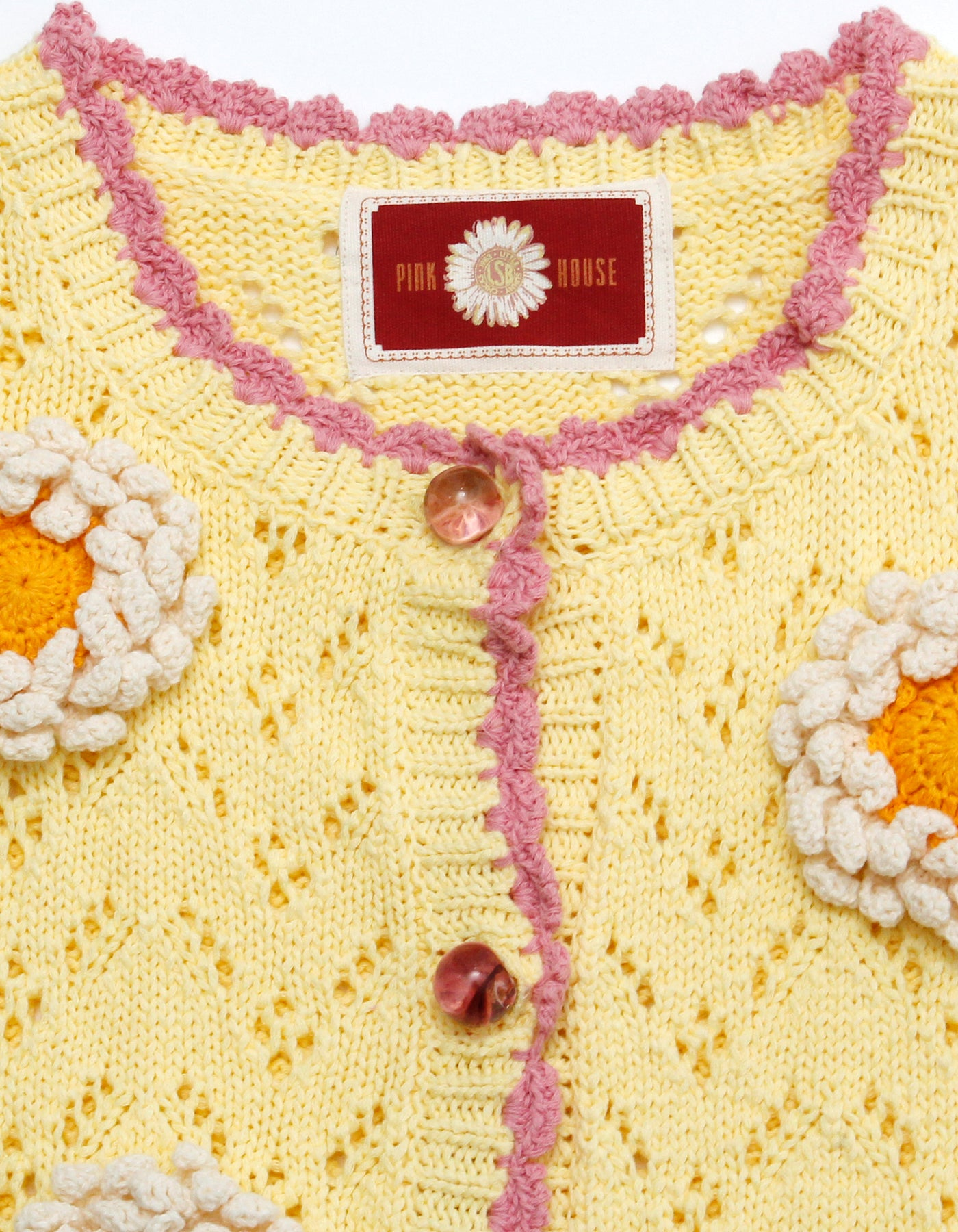 little sunny bite と pink house Flower mini cardigan / YELLOW