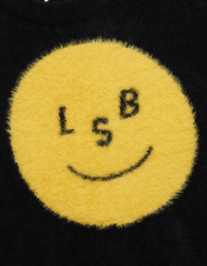 LSB smile big knit / BLACK